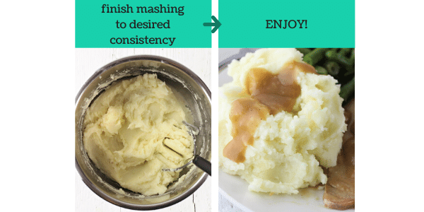 two images showing how to make instant pot mashed potatoes