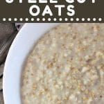 bowl of steel cut oats with a text overlay that says now cook this instant pot steel cut oats