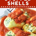 stuffed shells and sauce on a white plate with a text overlay that says now cook this spinach and cheese stuffed shells