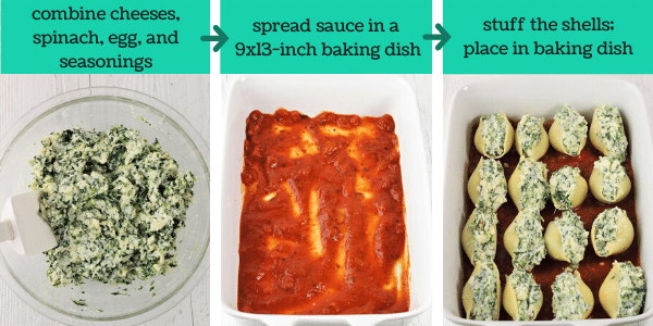 three images showing steps to make spinach and cheese stuffed shells