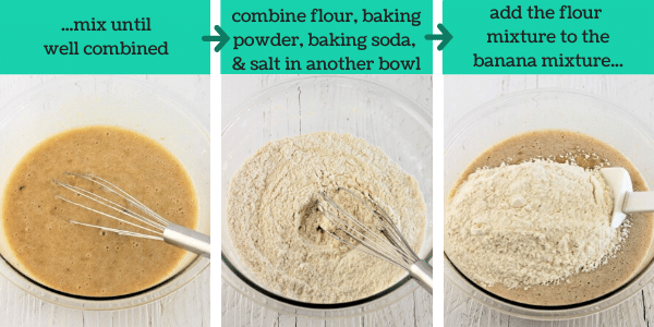 three images showing steps to make banana bread muffins