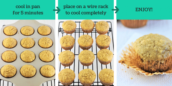 three images showing how to make banana bread muffins