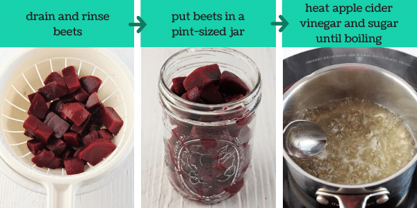 three images showing the steps to make easy refrigerator pickled beets