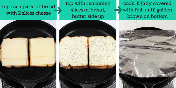 three images showing steps to make garlic bread grilled cheese sandwiches