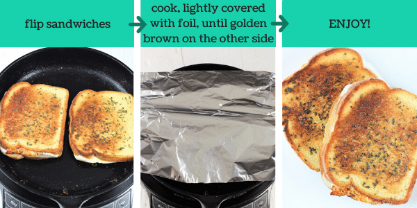three images showing how to make garlic bread grilled cheese sandwiches