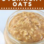 overnight oats in a jar with a spoon on the side and a text overlay that says now cook this pumpkin pie overnight oats