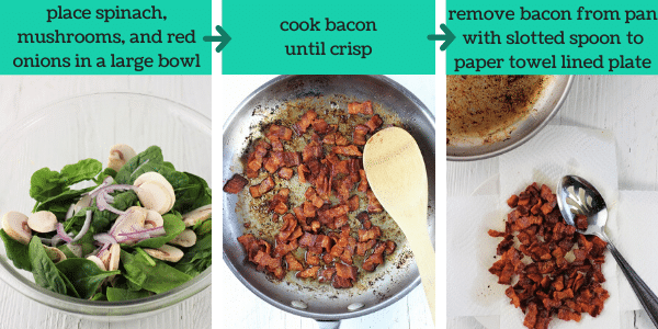 three images showing steps to make spinach salad with warm maple bacon dressing