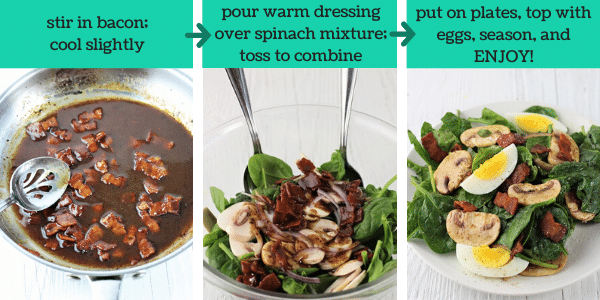 three images showing how to make spinach salad with warm maple bacon dressing