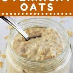 jar of oats with a spoon and a text overlay that says now cook this basic overnight oats