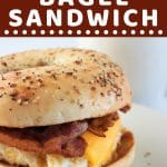 breakfast sandwich with a text overlay that says now cook this breakfast bagel sandwich