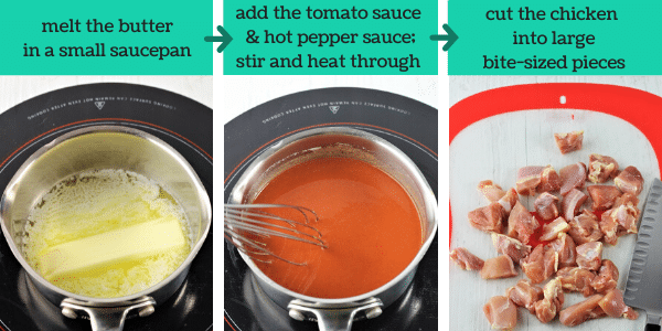 three images showing steps to make buffalo chicken bites