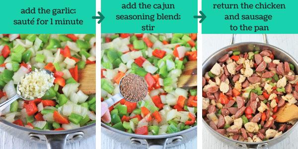 three images showing steps to make chicken and sausage jambalaya