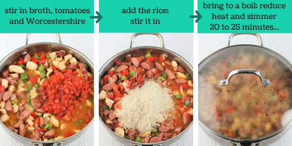 three images showing how to make chicken and sausage jambalaya