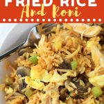 bowl of rice and chicken with a text overlay that says now cook this chicken fried rice and roni