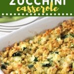 baking dish of chicken zucchini casserole with a text overlay that says now cook this chicken zucchini casserole