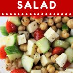 bowl of chickpea salad with a text overlay that says now cook this chickpea salad