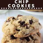 two chocolate chip cookies on a napkin with a text overlay that says now cook this thick bakery style chocolate chip cookies