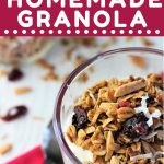 bowl of yogurt with granola on top with a text overlay that says now cook this cranberry coconut homemade granola