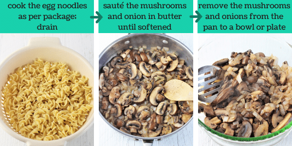 three images showing steps to make easy beef stroganoff