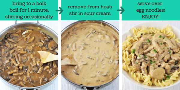 three images showing how to make beef stroganoff