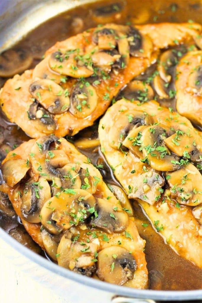 chicken marsala in a pan