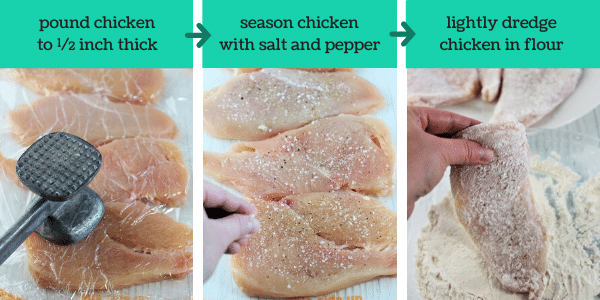 three images showing the steps to make easy homemade chicken marsala