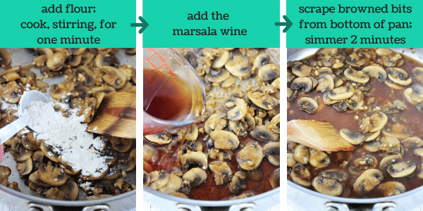 three images showing how to make easy homemade chicken marsala