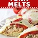 tuna melt cut in half on a plate with a text overlay that says now cook this english muffin tuna melts