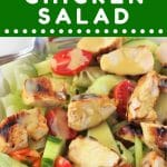 bowl of salad with chicken on top with a text overlay that says now cook this honey mustard chicken salad