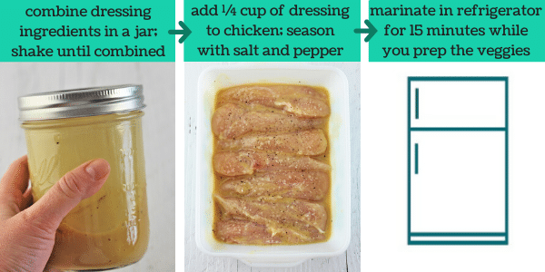 three images showing the steps to make honey mustard chicken salad