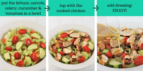 three images showing how to make honey mustard chicken salad