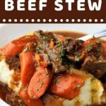 bowl of beef stew over mashed potatoes with a text overlay that says now cook this instant pot beef stew