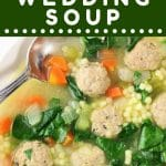 bowl of italian wedding soup with a spoon with a text overlay that says now cook this italian wedding soup
