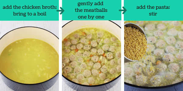 three images showing the steps to make italian wedding soup