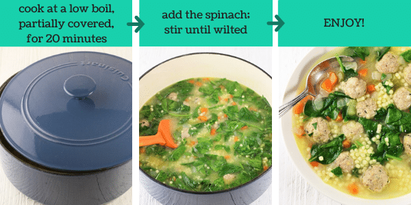 three images showing how to make italian wedding soup