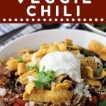 bowl of quinoa chili with a text overlay that says now cook this quinoa veggie chili