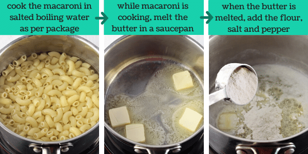 three images showing the steps to make stove top macaroni and cheese