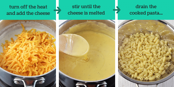 three images showing how to make stove top mac and cheese