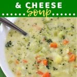 bowl of soup with a text overlay that says now cook this broccoli, cauliflower and cheese soup