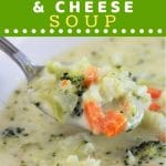 bowl of soup with a spoonful being taken out with a text overlay that says now cook this broccoli cauliflower and cheese soup