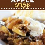 bowl of apple crisp with a spoonful being taken out with a text overlay that says now cook this caramel apple crisp