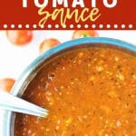 pot of tomato sauce with a text overlay that says now cook this cherry tomato sauce