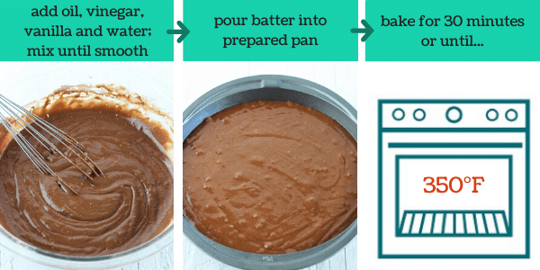 three images showing steps to make chocolate wacky cake