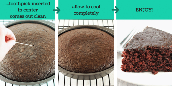 three images showing how to make chocolate wacky cake