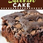 piece of chocolate cake with a text overlay that says now cook this chocolate zucchini cake
