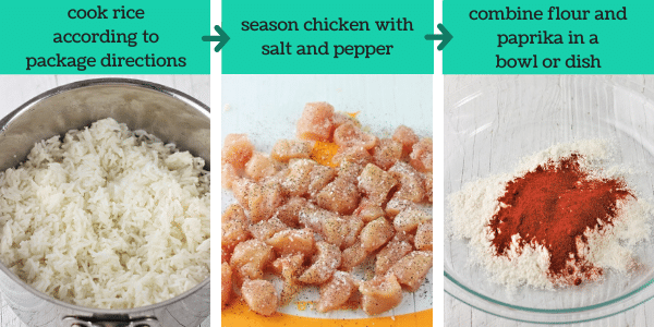 three images showing steps to make country captain chicken
