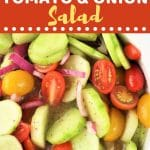 bowl of cucumber, tomato and onion salad with a text overlay that says now cook this cucumber, tomato and onion salad