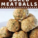 pile of meatballs on a plate with a text overlay that says now cook this quick and easy baked meatballs