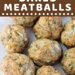 meatballs on a plate with a text overlay that says now cook this easy baked meatballs
