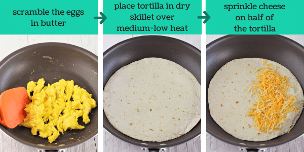 three images showing the steps to make easy breakfast quesadillas